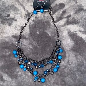 Gun metal and blue necklace